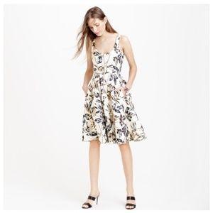 J. Crew Gold Foil Leaf Zip Front Linen Dress NWOT